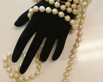 "Vintage Ivory Majorca Pearls 50"" Long"