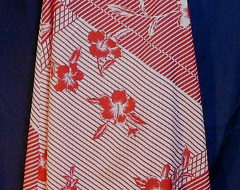 Vintage Hawaiian Maxi Dress Red Hibiscus Geometric Sand Fashions Small Tropical Floral