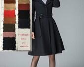 black winter coat , plus size coat , wool coat, lapel coat, short coat, fit and flare coat, belted coat, pleated coat , womens outwear  1841