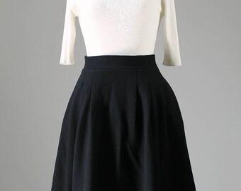 Black skirt, wool skirt, pleated skirt, winter skirt, retro skirt,midi skirt, knee length skirt, High Waisted skirt,flowy skirt,gift 1087