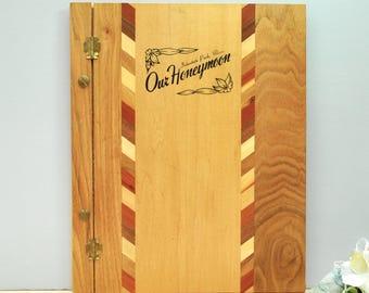 Vintage 1950's wood honeymoon photo album, vintage souvenir from Interstate Park, Minnesota, never used