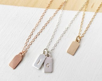 Hand Stamped Tag Necklace | Dainty Necklace | Monogram | Personalized Necklace | Initials | Gold Filled | Rose Gold Filled | Sterling Silver