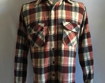 Vintage 80's Men's 70's Wool Blend, Flannel Shirt, Plaid, Button Down by Pine Hill (L)