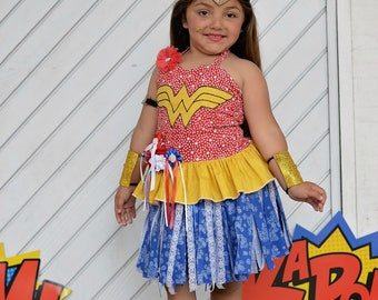 Girls Wonder Woman Costume, Wonder Woman Inspired Costume, Wonder Girl Costume, Halloween Costume, Girls Halloween, Super Hero Girl Costume