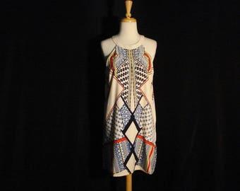 Geometric Sheath Dress Red White & Blue American Chic Spring Summer M