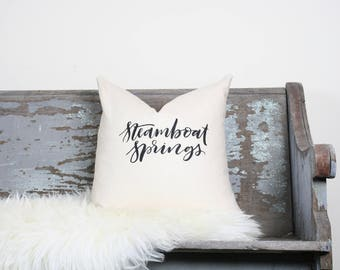 "18""x18"" Natural Colored Linen with Black Ink ""Steamboat Springs"" Pillow Cover 