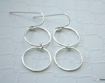 Double Hoop Earrings , Long Hoop Earrings , Sterling Silver Hoop Earrings