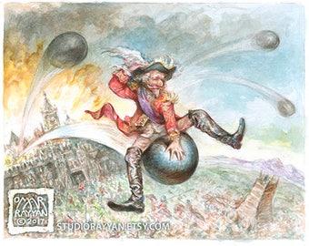 Baron on a Cannonball - extraordinary adventures of Baron Munchausen watercolor illustration
