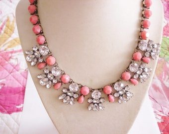 Clear and Pink Rhinestone  Necklace Vintage Jewelry