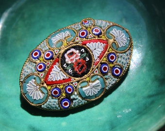 Micro Mosaic Brooch Floral Italian Glass Art Pin VINTAGE by Plantdreaming