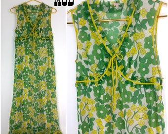 Lovely Vintage 60s 70s Green & Yellow Flower Power Sheer Ruffle Maxi Dress
