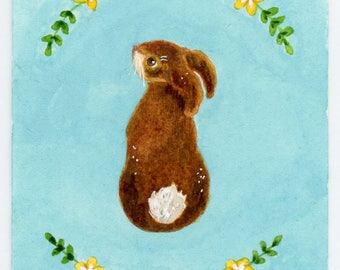 Spring Bunny, original ACEO