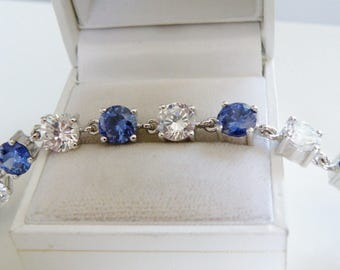 Vintage Estate Sterling Silver 925 28ct Simulated Tanzanite Diamond Tennis Line Bracelet 7.5""