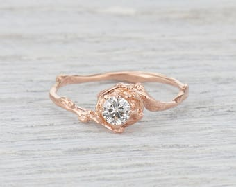 Forever One Moissanite Twig Engagement Ring Solitaire - Twig Engagement Ring with Moissanite in Rose Gold, Yellow Gold, White Gold