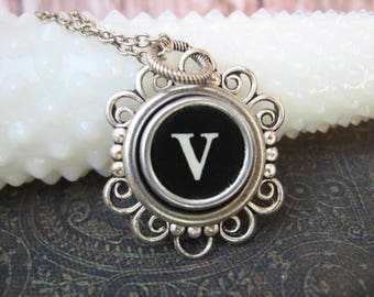 Antique Typewriter Key Necklace Initial V