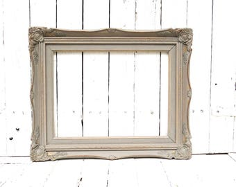 French Cottage Frame, Gray Frame, Vintage Frame, Rustic Chic Frame, Ornate Frame, Shabby Cottage Decor, 12x16 Frame, Weathered Frame