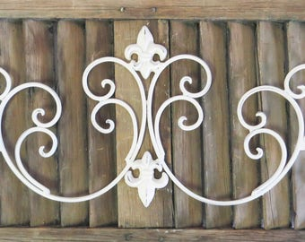 Wall Scroll, White Scroll Decor, Door Embellishment, Shabby an Chic, French Cottage, Fancy Scroll Wall Hanging, Wall Embellishment