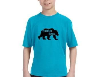 Brother Bear Shirt, Big Brother Gift, Boys Clothing Cotton Crewneck Graphic Tee Shirt, Family Bear Shirts, Walking Bear, Wild Animal Tshirt