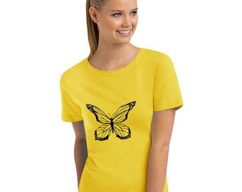 Butterfly Shirt, Butterfly Shirts, Butterfly Shirts For Women, Missy Fit T Shirt, Butterfly Tshirt, Butterfly Top, Monarch Butterfly Shirt