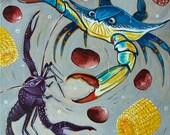 The Pot (acrylic painting, louisiana painting, louisiana art, crab, bluecrab, crawfish, cajun, boil, boiling pot, new orleans, nola, travel)
