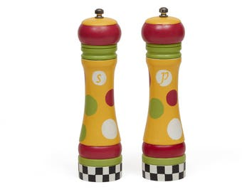 Salt and Pepper Set, New Salt and Pepper Grinders, Hand Painted Wood, Yellow, Red, Green, Silver, Black and White, Checkered