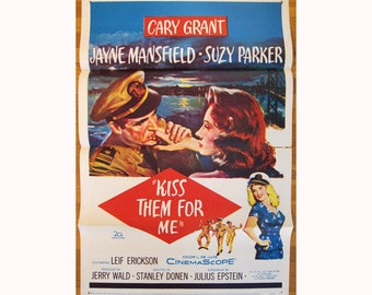 vintage original 1957 film poster KISS THEM for ME Cary Grant Jayne Mansfield Suzy Parker