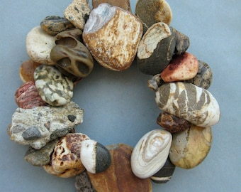 Earth Tone Rock Wreath or Candle Ring or Plant Pot Ring–RW365
