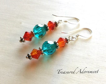Swarovski Crystal Earrings, Teal and Fire Opal Swarovski Crystals Earrings, Sterling Silver, Autumn Fall Earrings, Birthday, thank you gift