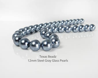 12mm Dark Gray Pearls Steel Grey Glass Pearls Charcoal Gray Loose Pearl Beads