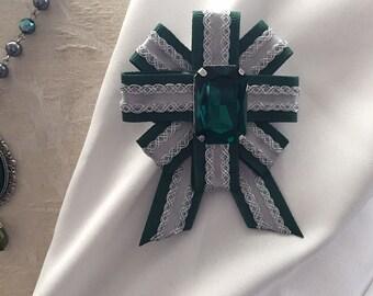 Green & Silver Serpent House Wizard Ribbon Pin