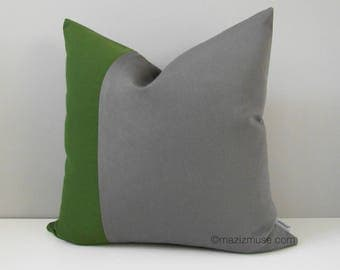 Decorative Green & Grey Outdoor Pillow Cover, Color Block Pillow Cover, Modern Olive Green Gray Pillow Cover, Palm Sunbrella Cushion Cover