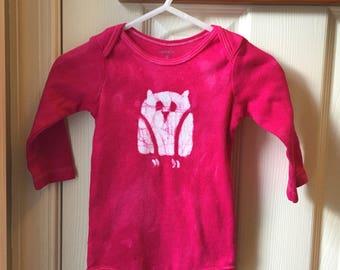Pink Owl Baby Gift, Owl Baby Bodysuit, Fuchsia Owl Bodysuit, Pink Owl Bodysuit, Baby Girl Gift, Owl Baby Gift, Baby Shower Gift (9 months)