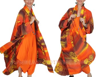 SunHeart Goddess BATIk HEROINE Coat RESORTWEAR Tangerine boho Hippie Chic Shaman one size Sml Med Large xl 1x 2x 3X 4X 5X 6X 7X