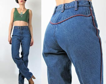 1970s High Waisted Jeans Womens 70s Jeans Straight Leg Blue Jeans Country Western Jeans Medium Wash Denim Vintage Womens Jeans (XS) E7044