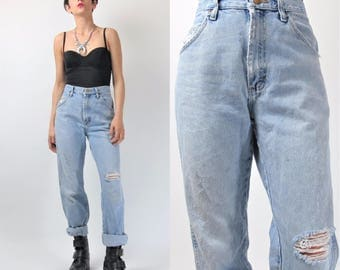 80s 90s Wrangler Jeans Distressed Ripped Knee Jeans Vintage Thrashed Faded Holes Medium Wash Denim Worn In Womens Grunge Jeans (L) E10017