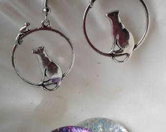 Kitty Cat and Mouse Earrings