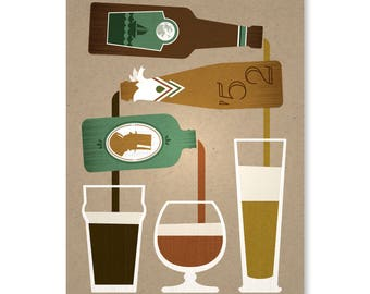 "Pouring Bottles No. 1, 9"" x 12"" on 100% Recycled French Paper Speckletone Kraft 100lb. Cover"