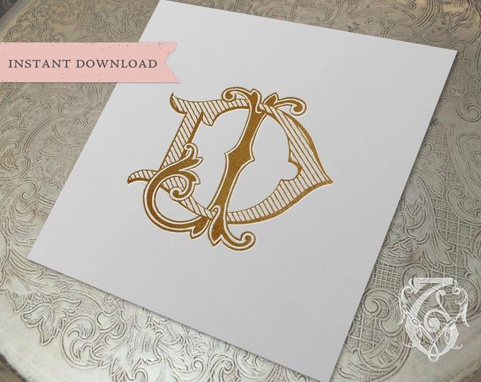 Vintage Wedding Monogram DJ JD Digital Download D J