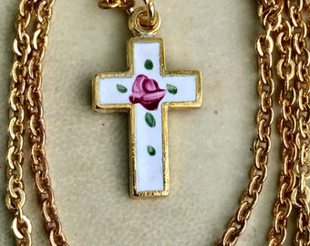 Sarah Coventry Cross Necklace For Little Girl,Christian Necklace,Enamel, Christian Girl Gift,Christian Gift,Religious necklace G55B