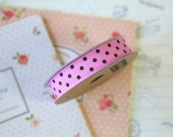 Bubblegum Pink & Brown Polka Dots grosgrain ribbon