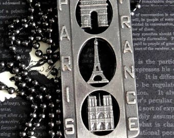 NEW! PARIS Vintage French Eiffel Tower Pendant Necklace. Notre Dame & Arc de Triomphe Decor. Gunmetal Finish Ball Chain. One Of A Kind