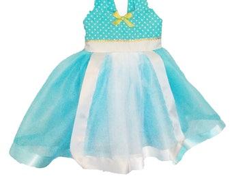 Goldilocks Dress: blue and white tutu dress, Three Bears Birthday Party, Twirly tutu dress, gold sparkle, polka dots
