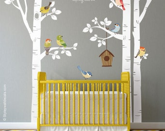 Birch Trees and Birds Wall Decal, Forest Trees Birds Wall Decal, Trees Wall Sticker, Birds Nursery Wall Decal, Trees Baby Room Wall Decor