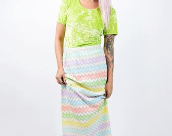 Amazing VTG 60s 70s Pastel Rainbow Woven Mermaid Tail Maxi Skirt Vintage Hippy Boho Kawaii Pop Art Mod Vintage Small Medium