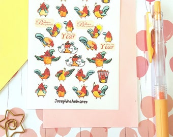 Lunar New Year | Chinese New Year | Year of the Rooster | Planner Stickers | Fun Bullet Journal Stickers