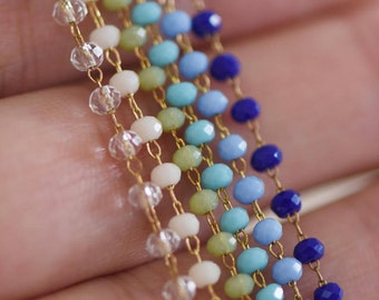 Crystal Glass Bead Chain 3mm Thin, Unplated Brass Beaded Chains, Multi Colors (#RB-039)/ 1 Meter=3.3ft