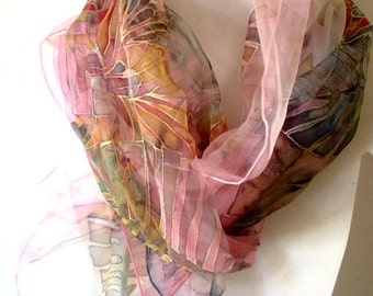silk scarf' Flowers Song' hand painted silk scarf collection, flowers and leaves composition, warm pink background,long scarf, silk chiffon