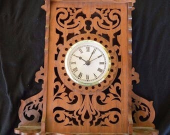 Vintage Carved Wood Wall Clock Hand Made Original