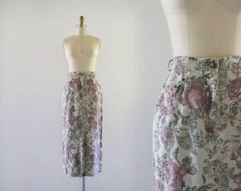 high waist botanical ramie skirt / 5/6