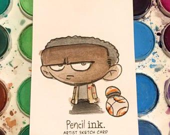 Finn WATERCOLOR Sketch Card (Star Wars-The Last Jedi) ACEO original art
